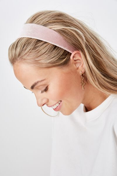 Blair Velvet Headband, BLUSH