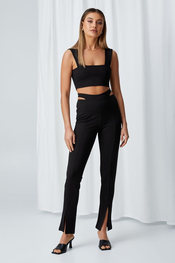 Kira Thick Strap Crop Top, BLACK