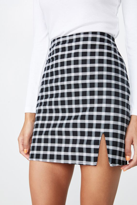 Lily Split Front Mini Skirt, BLACK AND WHITE CHECK
