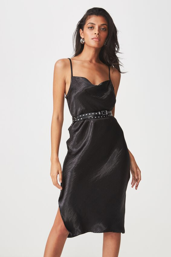Cowl Neck Satin Midi Dress, BLACK