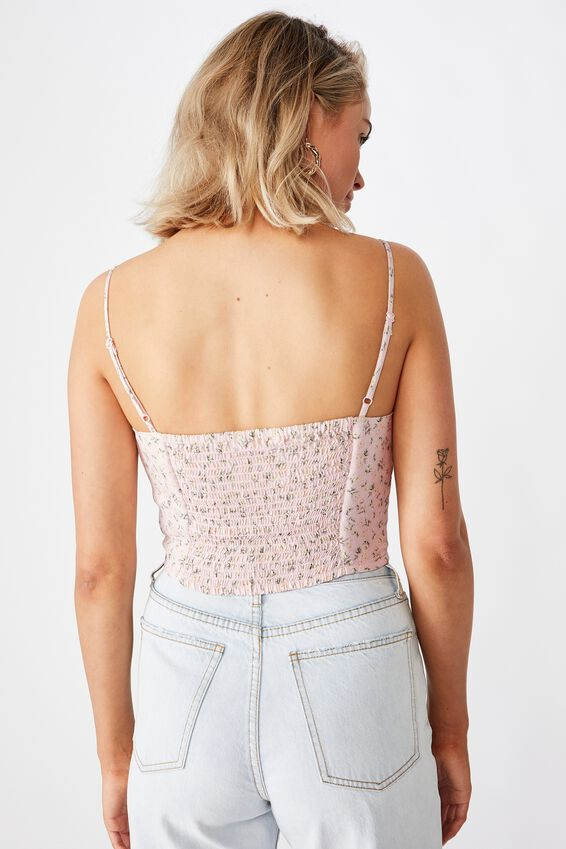 Chelsea Ruched Bustier Top, DAPHNE FLORAL PINK
