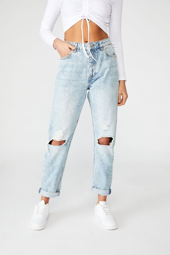 The Mom Ripped Denim Jean, SALTY BLUE RIP