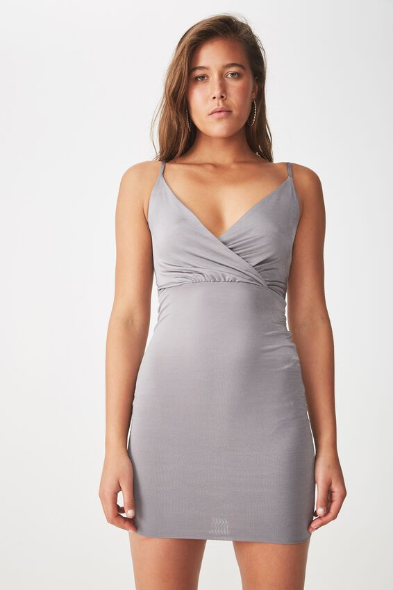 Party Shiny Wrap Mini Dress, STEEL GREY