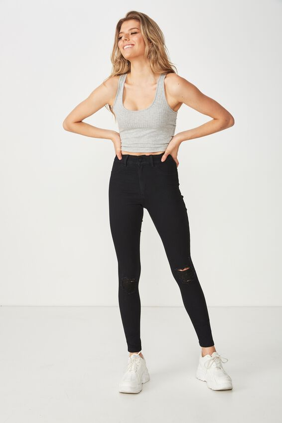 Super Skinny Ripped Jean, BLACK