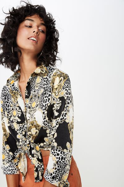 Cindy Oversized Satin Shirt, ITALIAN LEOPARD