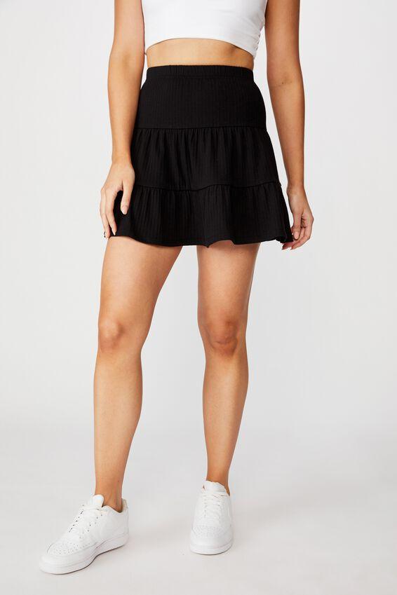 Selena Tiered Skirt, BLACK