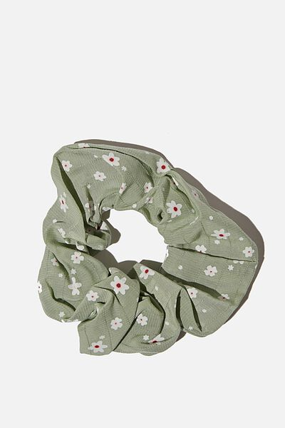 Small Floral Scrunchie, KHAKI DITSY