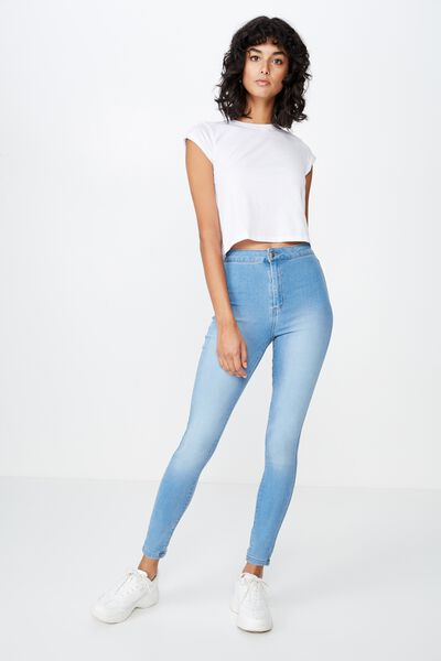 Long Super Skinny Sky High Jean, WAVE BLUE