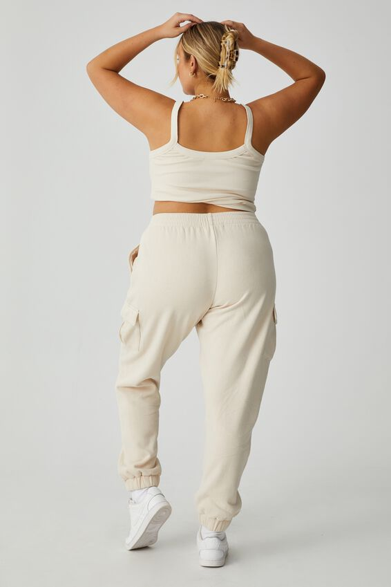 Kayleigh Cargo Track Pant, COOKIE CREAM