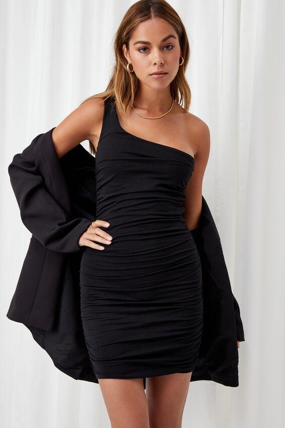 Miley Ruched Mini Dress, BLACK