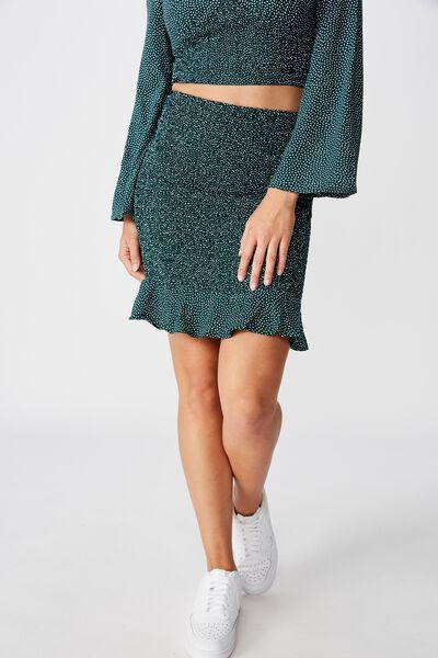 Kitty Shirred Skirt, RICE SPOT GREEN
