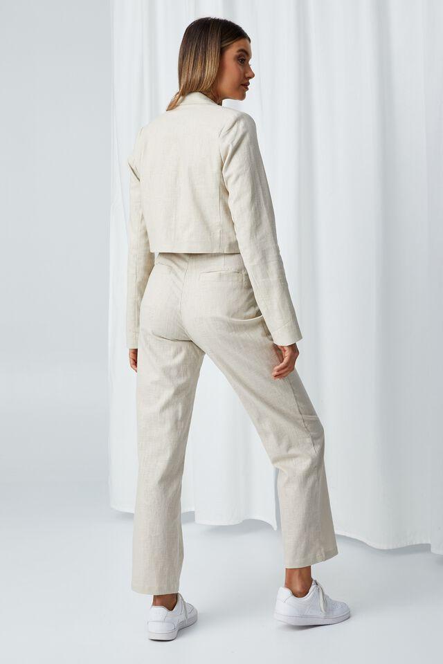 Cece Linen Blend Straight Leg Pant, BEIGE BUFF
