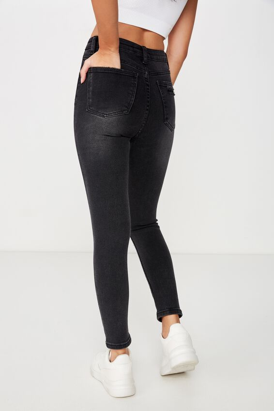 Short Skinny Premium Ripped Jean, WASHED BLACK