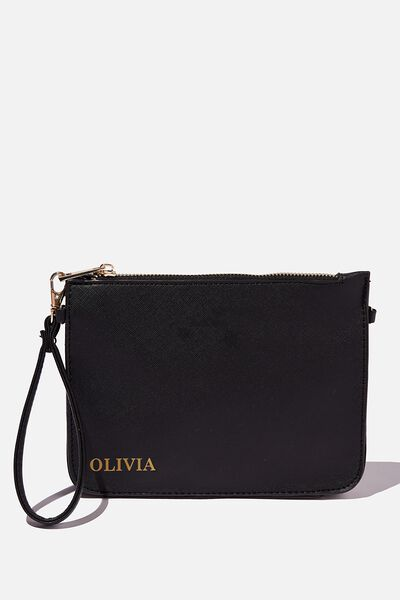 Personalised Jenna Clutch, BLACK TEXTURE/GOLD