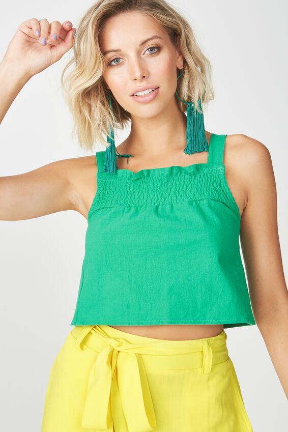 Shirred Strappy Crop Top, GREEN