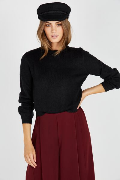 Clara Cosy Bell Sleeve Knit Top, BLACK