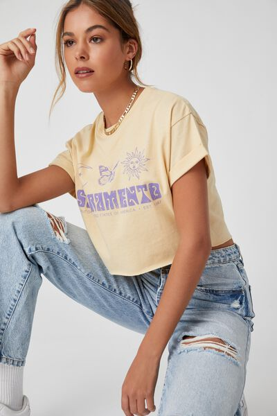 Tamara Printed Crop T Shirt, BUTTERMILK/SACRAMENTS