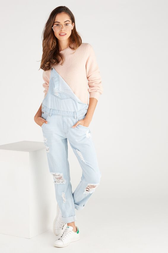Relaxed Destroy Denim Overall by Supre