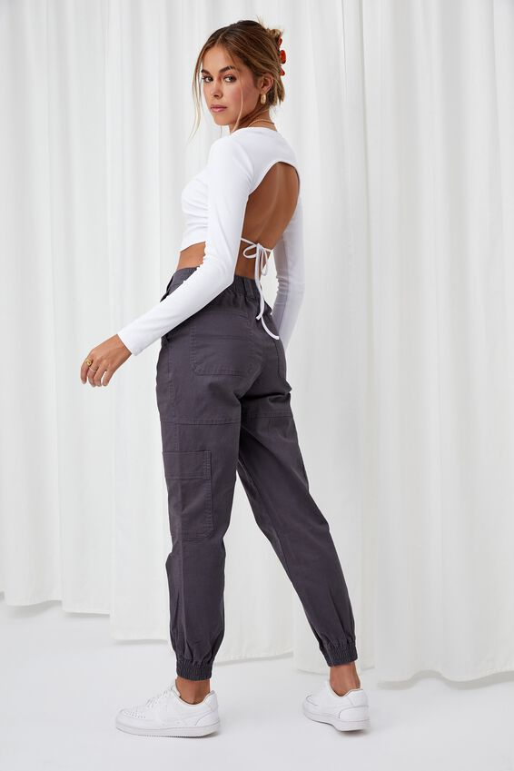 Kiki High Rise Cargo Pant, JET GREY