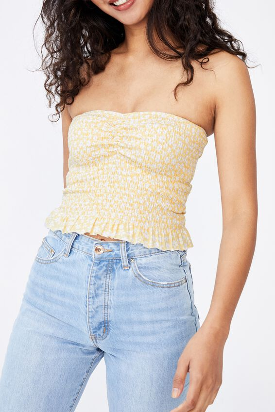 Alexa Gather Front Shirred Tube Top, RHIANNON FLORAL CREAMY YELLOW