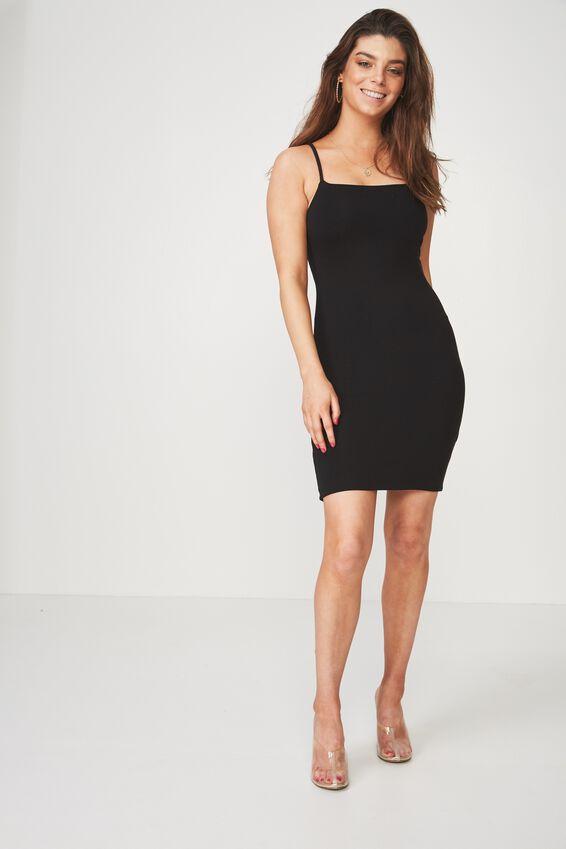 Square Neck Mini Dress, BLACK