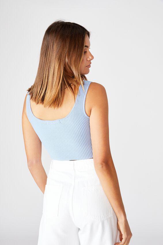Mikaela Square Neck Knit Top, BLUE PETAL