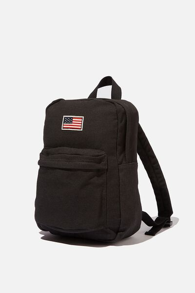 Canvas Back Pack, WASHED BLACK/AMERICAN FLAG
