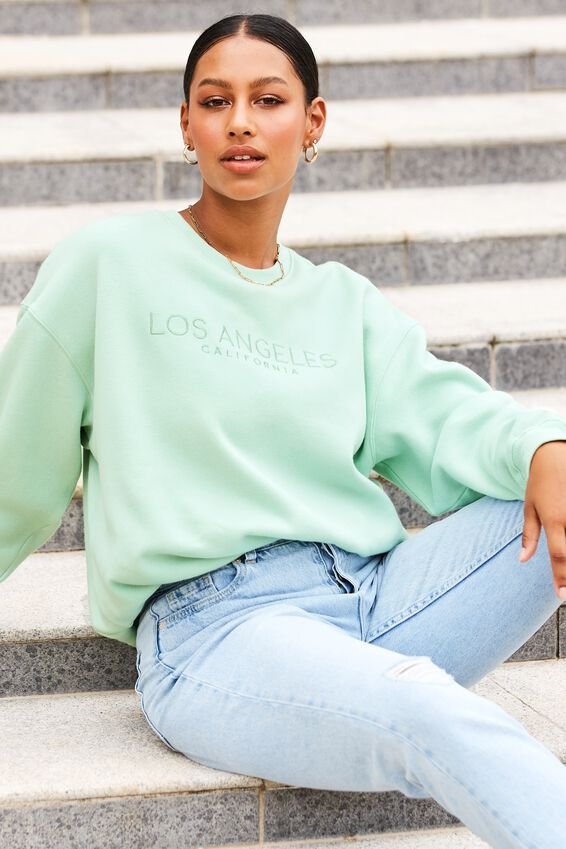 Tonya Oversized Crew Jumper, MINTY GLOW/LOS ANGELES