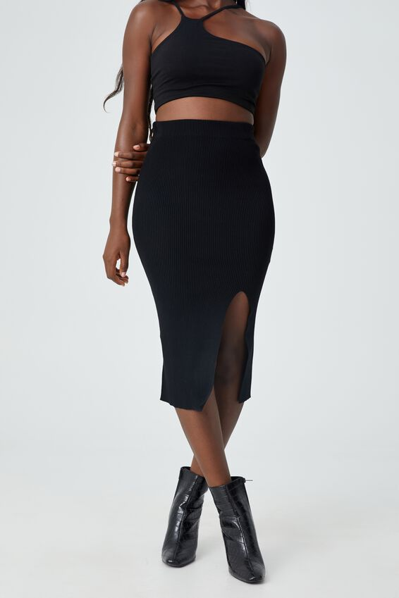 Audrey Midi Skirt, BLACK