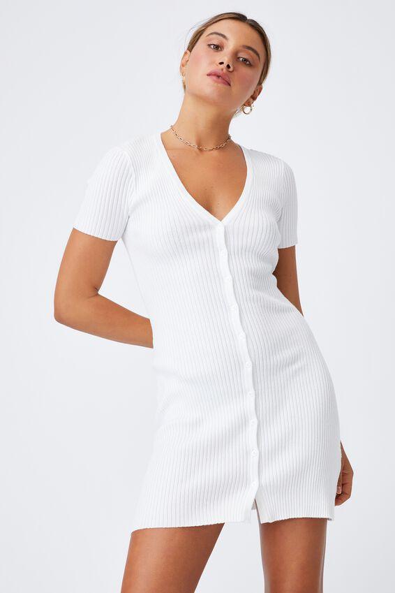Corinne Buttoned Mini Dress, WHITE