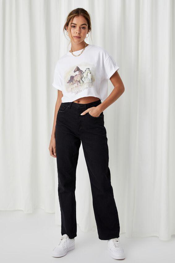 Tamara Printed Crop T Shirt, WHITE/CALIFORNIA WILD ONE
