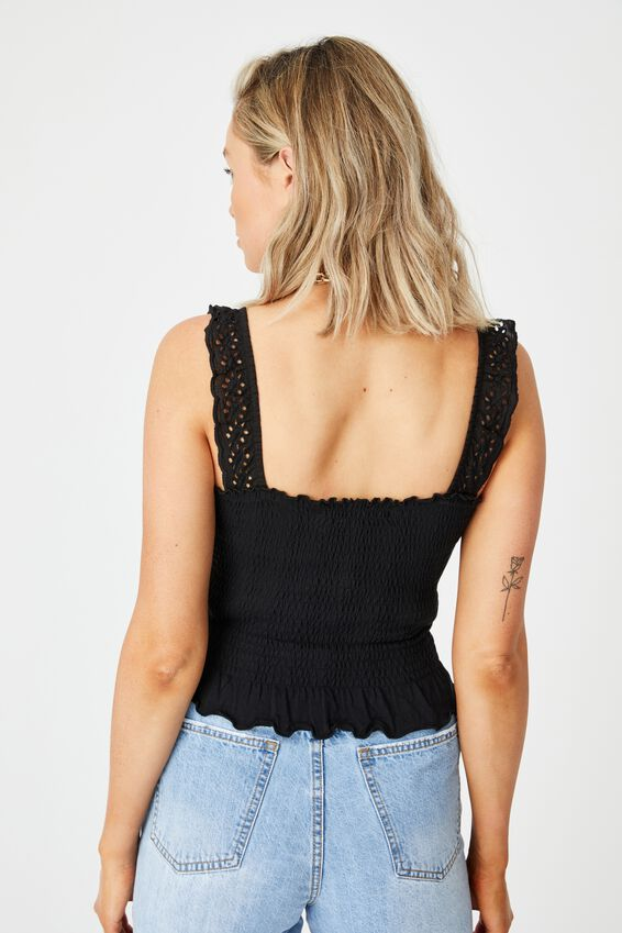 Raegan Shirred Bodice Top, BLACK