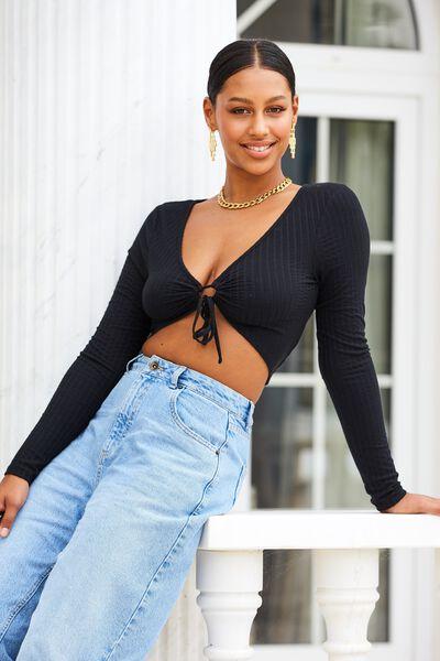 Chloe Keyhole Crop Top, BLACK