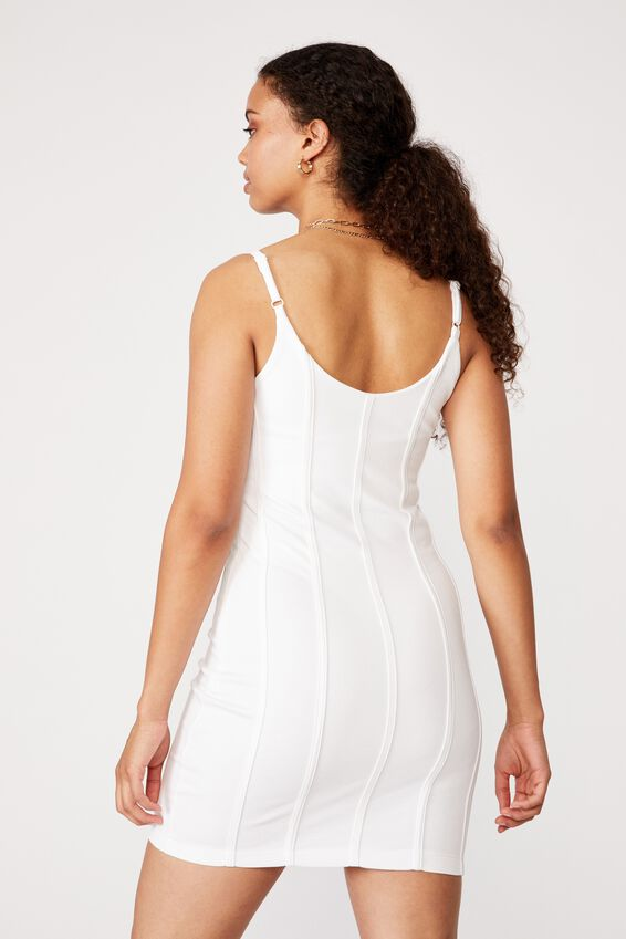 Skye Panelled Bodycon Dress, WHITE