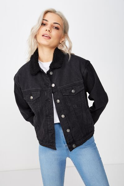80S Faux Shearling Denim Jacket, BLACK