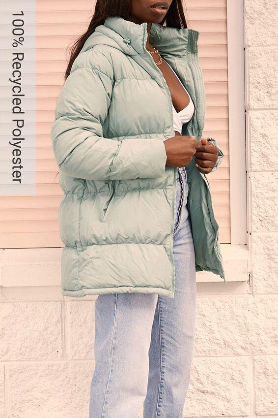 The Long Feel-Good Puffer Jacket, SOFT MOSS