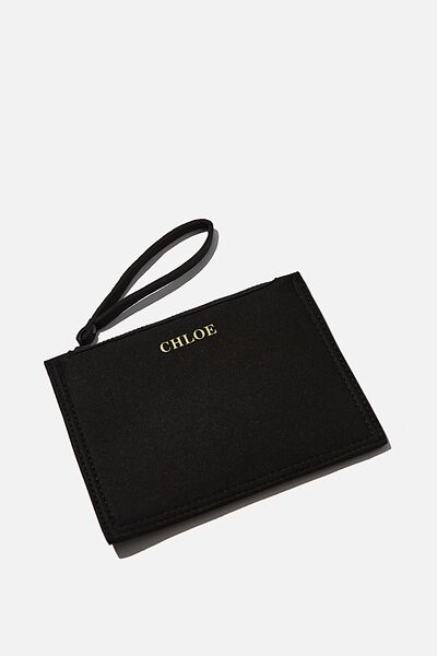 Customised Neoprene Raw Edge Zip Purse, BLACK