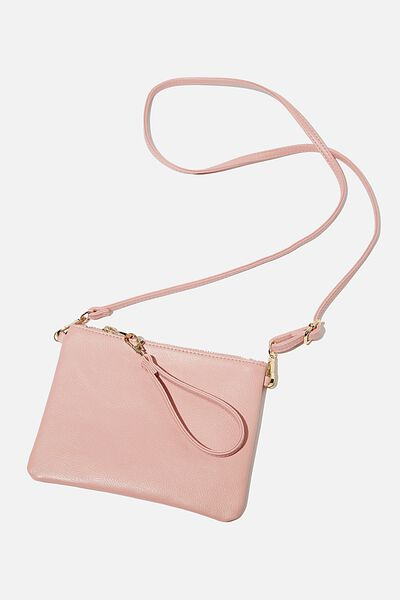 Sofia Zip Pouch With Wrist Strap, ROSE PINK PEBBLE