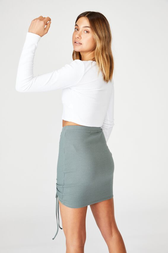 Sierra Ruched Draw Cord Skirt, CAMPER GREEN