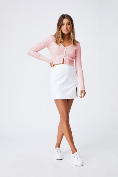 Olivia Button Through Long Sleeve Top, CHIC PINK