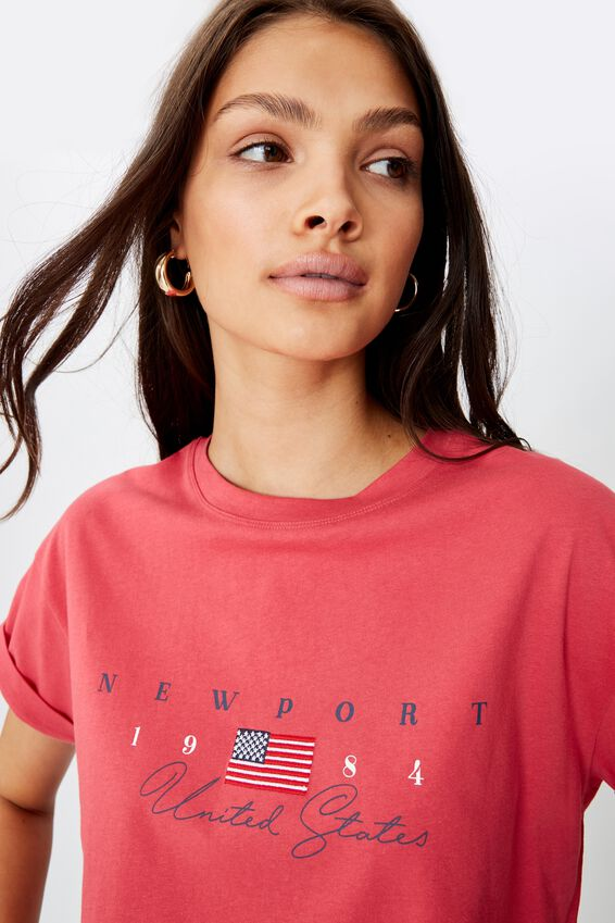 Tamara Printed Crop T Shirt, RETRO RED NEWPORT FLAG