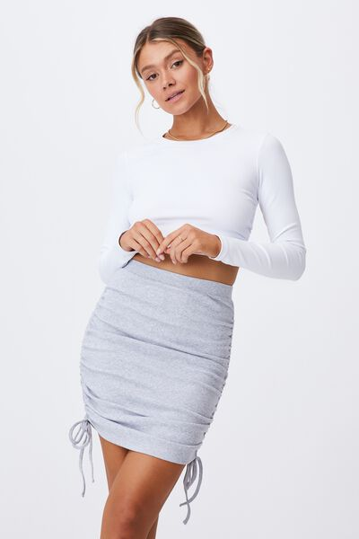 Paola Ruched Drawcord Skirt, GREY MARLE