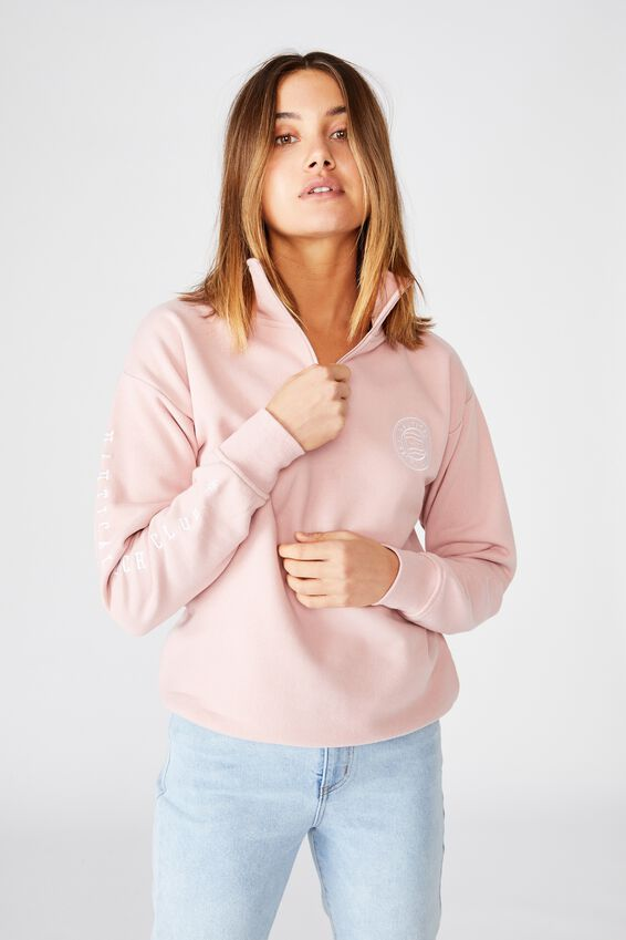 Oversized Quarter Zip Sweat, ROSE QUARTZ PINK/NAUTICAL YACHT CLUB