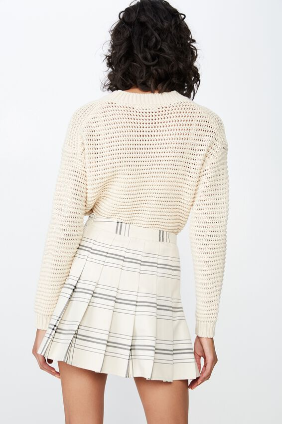 Pleated Mini Skirt, OATMEAL CHECK