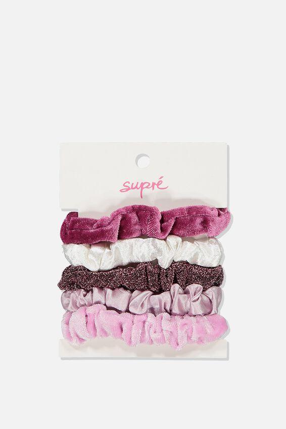 Hair Tie Scrunchie Pack, PINK
