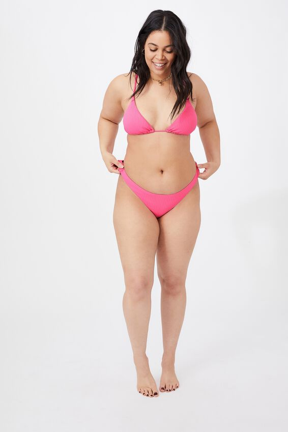 Honolulu High Cut Bikini Bottom, RASPBERRY ICE/WIDE RIB