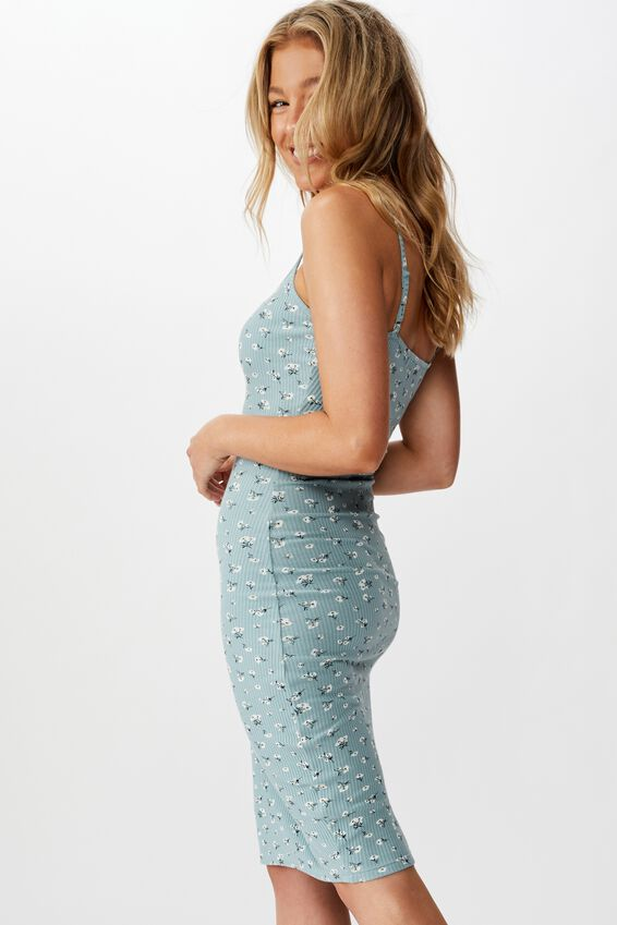 Serena V Neck Midi Dress, CLUSTERED SPROUT SAGE