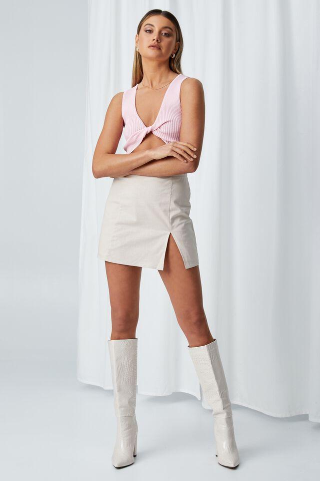 Harlow Woven Mini Skirt, BEIGE BUFF