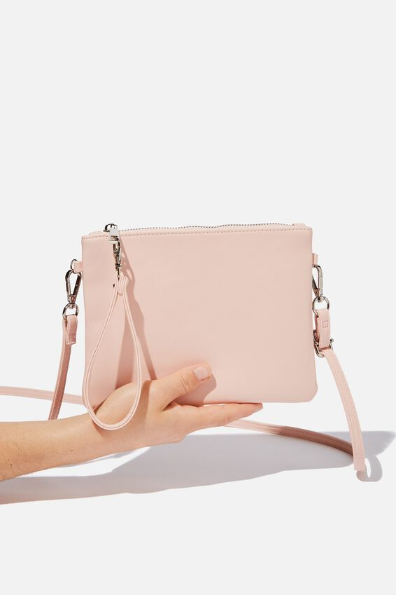 Sofia Zip Pouch With Wrist Strap, PINK PEBBLE