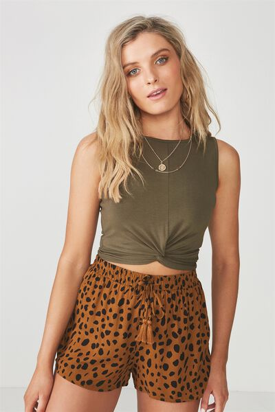 Tara Twist Top, KHAKI
